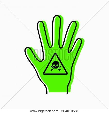 Poisoning A Person. Intoxication Of Limbs. Contour Silhouette Of Hand With Poison Icon And Green Sil