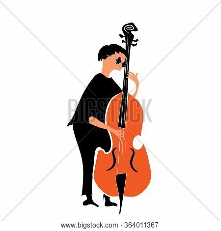 Jazz Musician In Black Clothes Playing The Double Bass. A Character In Black Clothes And Glasses Pla