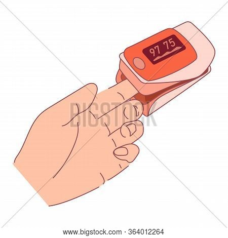 Pulse Oximeter On Finger. Digital Device To Measure Oxygen Saturation. Reduced Oxygenation Is Emerge