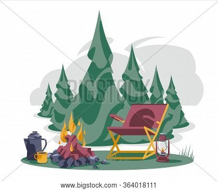 Camping Coniferous Tree Landscape With Chair Near Bonfire, Teapot And Cup Isolated White Background