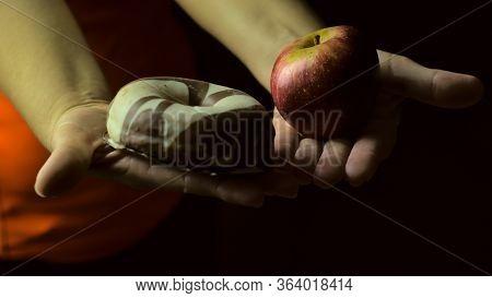 Diet Concept, Overweight By Confinement, Choosing Between Fruit Or Industrial Pastries, Healthy Diet