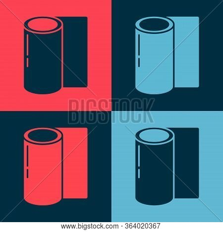Pop Art Fitness Mat Roll Icon Isolated On Color Background. Yoga Mat Rolled. Sport Equipment. Vector