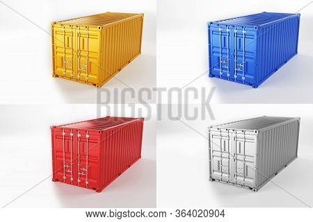 A High Quality Image Of 20ft Shipping Containers On A White Background. Twenty Foot Sea Shipping Con