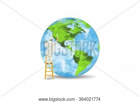 Green Ecology And Environment Concept : Miniature People As Painter Stand On Ladder And Painting Gre