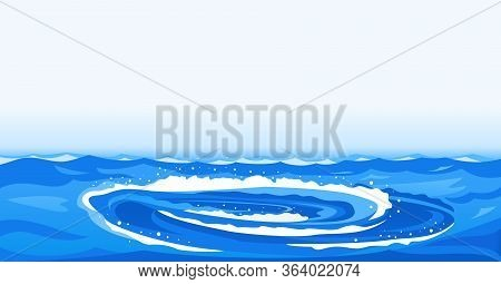 Whirlpool With Spiral Twists On Water Background Illustration, Powerful Whirlpool Waves With Splashe
