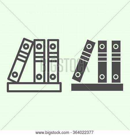 Office Folders Line And Solid Icon. Row Of Binders Outline Style Pictogram On White Background. Thre