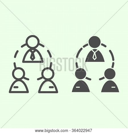 Business Team Line And Solid Icon. Office Workgroup With Employees And Boss Connections Outline Styl