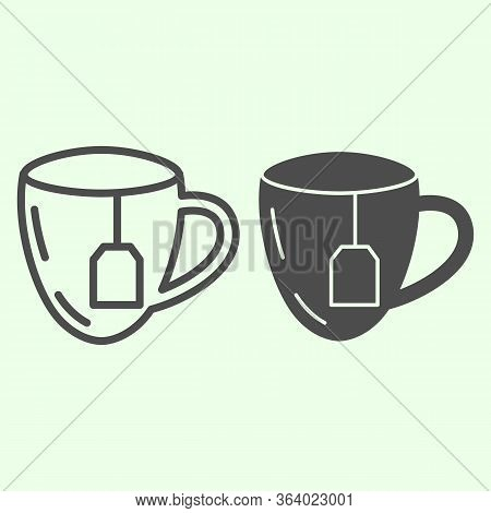 Lunch Break Line And Solid Icon. Cup Of Tea With Tea Bag Outline Style Pictogram On White Background