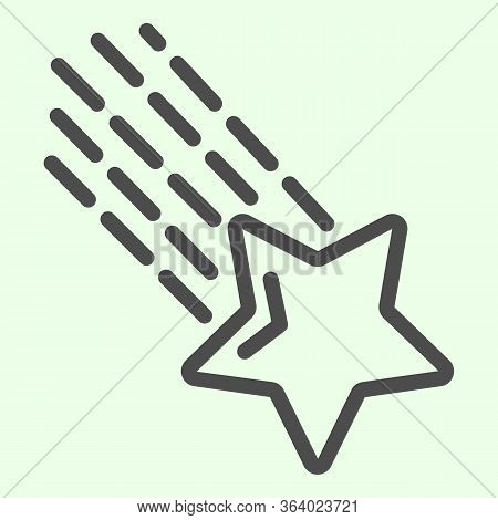 Shooting Star Line Icon. Falling Meteor Star With Tale In Outer Space Outline Style Pictogram On Whi