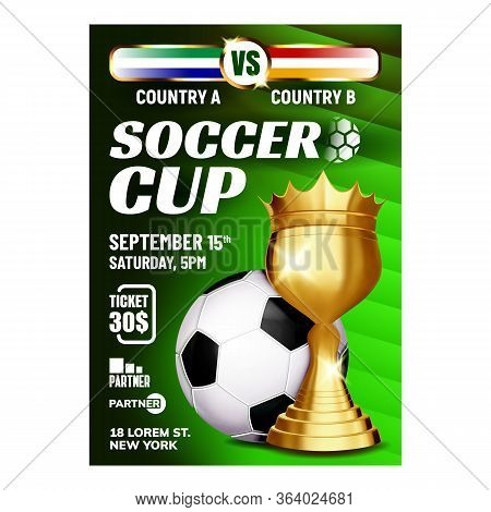 Soccer Sportive Champion Cup Booklet Poster Vector. Soccer Ball And Golden World Cup For Winner Cham