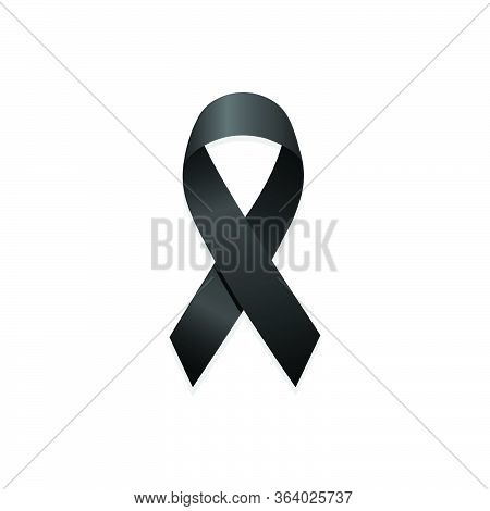 Black Ribbon. Remembrance Sign. Isolated Vector Illustration