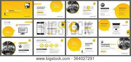Presentation And Slide Layout Template. Design Yellow Gradient In Paper Speech Shape Background. Use