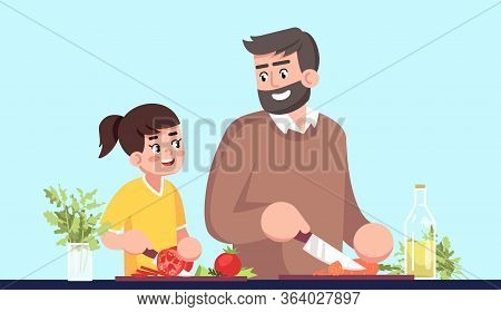 Father And Daughter Cooking Together Semi Flat Rgb Color Vector Illustration. Parent And Child Cutti
