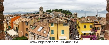 Sirmione, Italy, October 01, 2015 : Panoramic View Of The City From The Height Of The Castello Scali