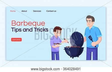 Barbecue Tips And Tricks Landing Page Vector Template. Outing Website Interface Idea With Flat Illus