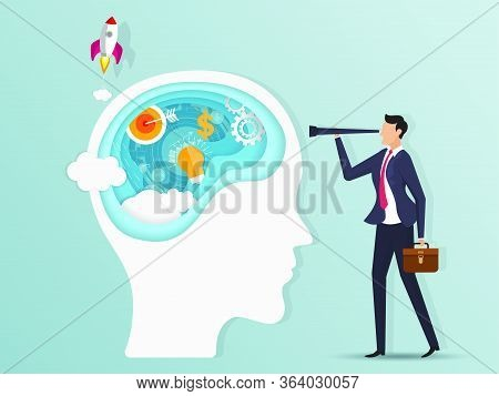 Paper Cut Business Opportunities Concept Illustration. Businessman Is Searching The Ability In Brain