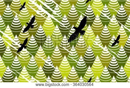 Spruce Forest And Eagles Flying Over Trees Optical Seamless Background, Vector Pattern.