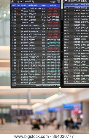 Flight Information Display Board At The New Istanbul Airport, Istanbul Havalimani In Turkey