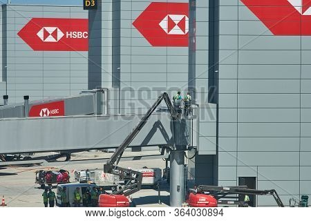 Istanbul / Turkey - September 14, 2019: Workers On A Manitou Maniaccess 180 Atj Truck, Maintaining T