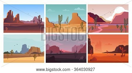 Desert Landscape Natural. Sandy, Hot Open Yellow Desert Valley In Morning, Horizontal Orange Grand C