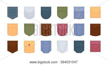 Patch Pocket Set. Design Colored Pockets Of Round, Oval And Rectangular Shapes For Clothes Shirt, Dr