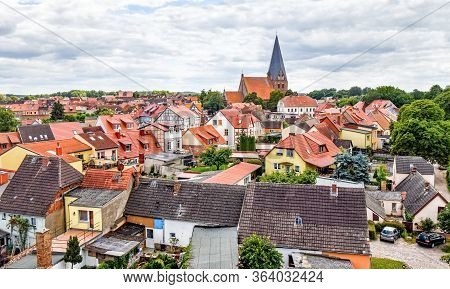 View Over The Small Town Röbel In The Federal State Mecklenburg-vorpommern In Germany