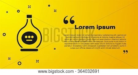 Black Bottle Of Cognac Or Brandy Icon Isolated On Yellow Background. Vector Illustration