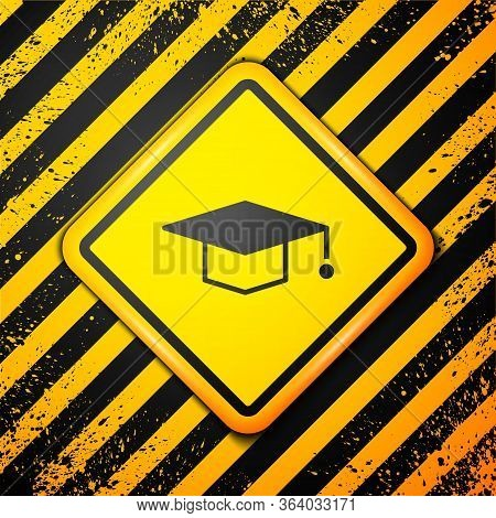 Black Graduation Cap Icon Isolated On Yellow Background. Graduation Hat With Tassel Icon. Warning Si