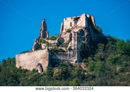 Kuenringerburg, The Castle Ruins Above Duernstein, Perched On A Hill In Wachau Valley, Where Richard