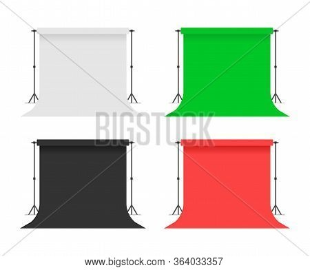 Set Of Papers Studio Backdrops. White, Red, Black, Green Backdrop Stand Tripods. Photo Studio. Flat