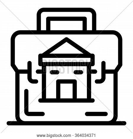 Case And House Icon. Outline Case And House Vector Icon For Web Design Isolated On White Background