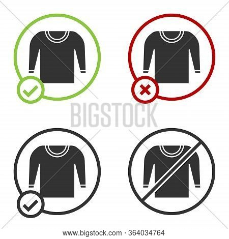 Black Sweater Icon Isolated On White Background. Pullover Icon. Circle Button. Vector Illustration