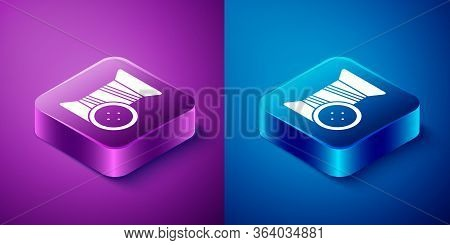 Isometric Sewing Thread On Spool And Button Icon Isolated On Blue And Purple Background. Yarn Spool.