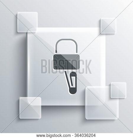 Grey Lockpicks Or Lock Picks For Lock Picking Icon Isolated On Grey Background. Square Glass Panels.