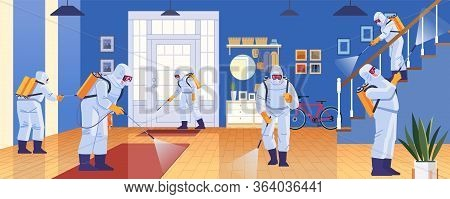Home Disinfection By Commercial Disinfecting Services, Surface Treatment From Pandemic Coronavirus.