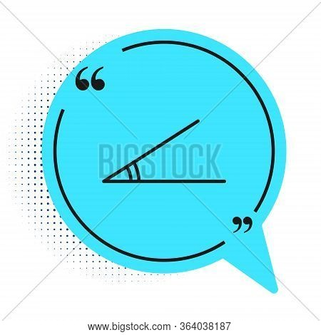 Black Line Acute Angle Of 45 Degrees Icon Isolated On White Background. Blue Speech Bubble Symbol. V