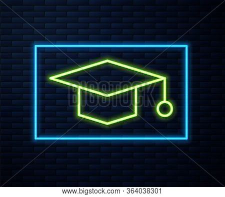 Glowing Neon Line Graduation Cap Icon Isolated On Brick Wall Background. Graduation Hat With Tassel
