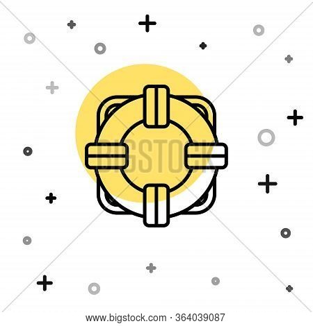 Black Line Lifebuoy Icon Isolated On White Background. Lifebelt Symbol. Random Dynamic Shapes. Vecto
