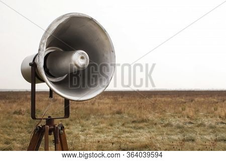 Vintage Bullhorn Or Megaphone With Loud Speaker. Bullhorn Warns Of Danger. Speaks Loudly About The C