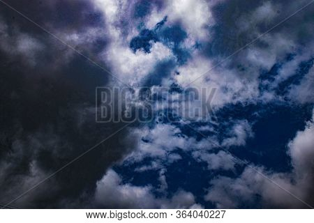 White Clouds With Deep Blue Sky In Monsoon Season