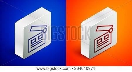 Isometric Line Movie Clapper Icon Isolated On Blue And Orange Background. Film Clapper Board. Clappe