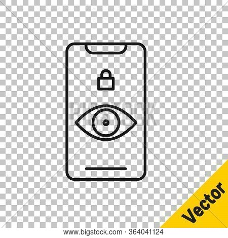 Black Line Eye Scan Icon Isolated On Transparent Background. Scanning Eye. Security Check Symbol. Cy