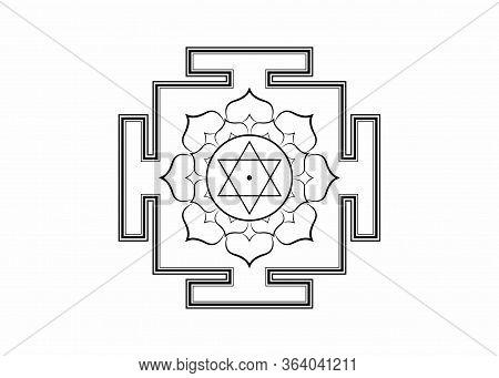 Hinduism Bhuvaneshwari Yantra Prakriti Sacred Diagram, 6 Pointed Star. Yantra Dasa Mahavidya Sacred