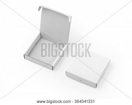 Opened And Closed White Boxes Mockup Isolated On White Background