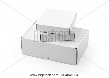 White Cardboard Boxes Isolated On White Background