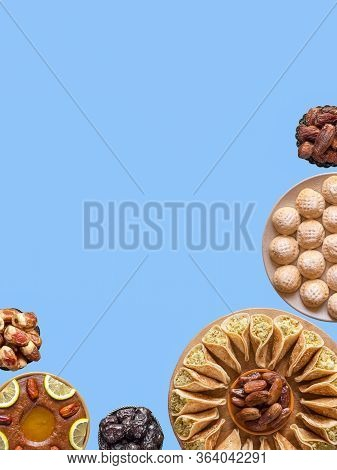 Festive Collage With Various Sweet Dishes Of Arabic Cuisine. Copy Space For Your Text.