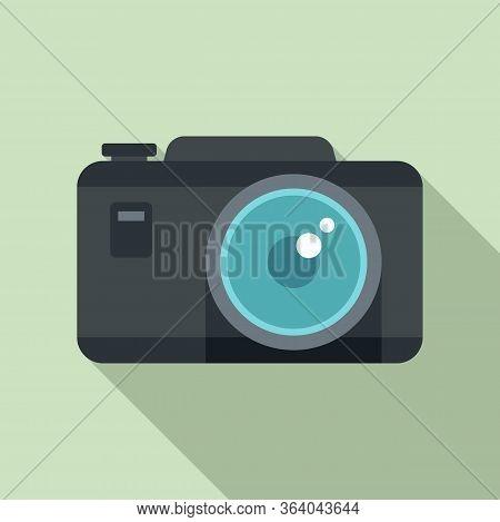 Tourist Camera Icon. Flat Illustration Of Tourist Camera Vector Icon For Web Design