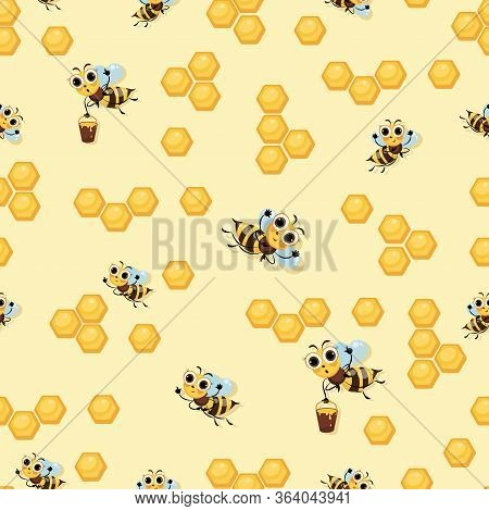Honeycomb. Swarm Of Bees. Background, Seamless Pattern. Cute Kid Character. Cartoon Cute Bees.