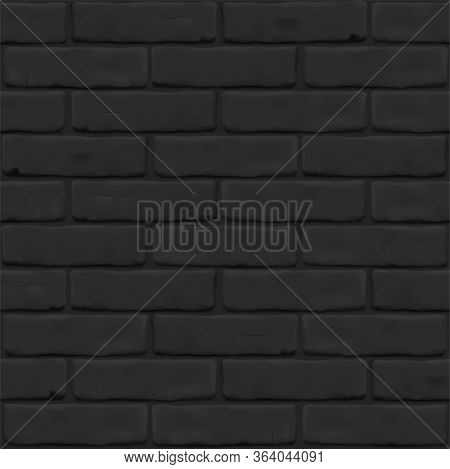 Photorealistic Texture Of Black Brick Wall As Background. Masonry Close Up For 3d, Exterior, Interio