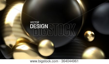 Glossy Soft Body Spheres. Abstract 3d Background. Vector Realistic Illustration. Black And Golden Sq